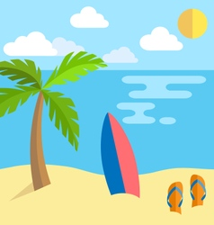 Summer vacation background island with palm vector