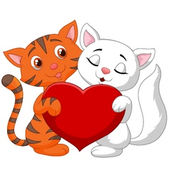 Happy cat couple holding red heart vector