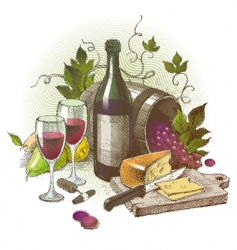 Vintage still life with wine vector