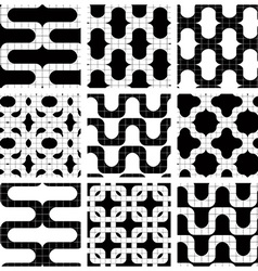 Set of grate seamless patterns with geometric vector