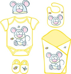 Cute baby layette with mouse and butterfly - vector