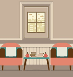 Two sofas with hot coffee cup and books on table vector