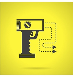 Black stun gun flat icon vector