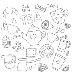 Doodle set for tea and coffee and sweets vector