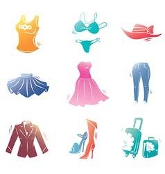 Fashion clothes icons set vector