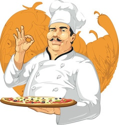 Pizzeria chef holding pizza pan vector