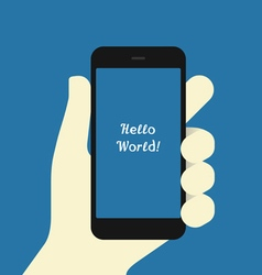Smartphone in hand flat design template vector