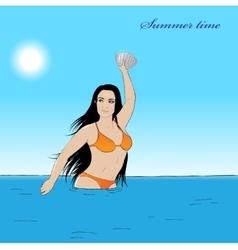 Girl in water vector