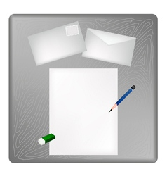 A pencil and eraser on a blank page and envelope vector