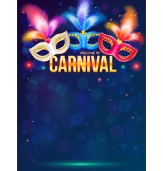 Bright carnival masks on dark blue background vector