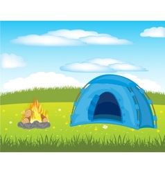 Tent on meadow vector
