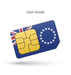 Cook islands mobile phone sim card with flag vector