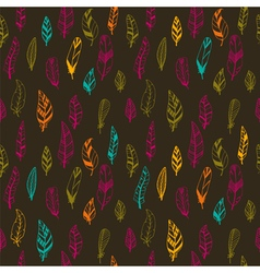 Seamless vintage pattern with hand drawn feathers vector