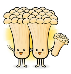 Mushroom couple to promote vegetable selling vector