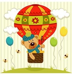 Bear flies on air balloon vector