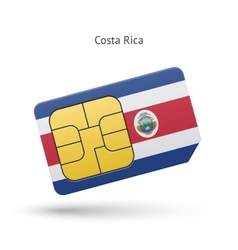 Costa rica mobile phone sim card with flag vector