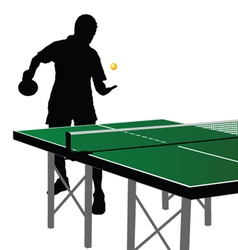 Ping pong player silhouette nine vector