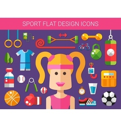 Set of modern flat design sport fitness and vector