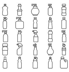 Set of silhouettes of plastic bottles and other co vector