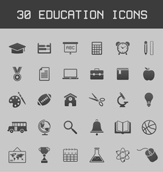Dark education icon set vector