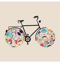 Vintage hipsters icons bike vector
