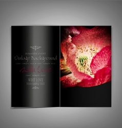 Black elegant brochure with red poppies vector
