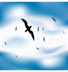 Birds flying in sky vector
