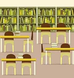 Empty reading seats in a library vector