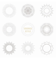 Set of vintage sunburst geometric shapes and vector