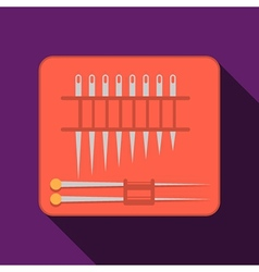 Needles set red pack flat icon vector