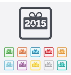 Happy new year 2015 sign icon christmas gift vector