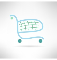 Simple shopping cart in modern flat design trolley vector