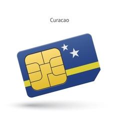 Curacao mobile phone sim card with flag vector