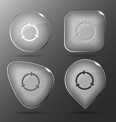 Recycle symbol glass buttons vector