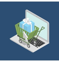 Shopping cart on laptop vector