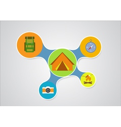 Camping graphic in round style outdoor elements on vector