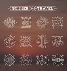 Line drawing summer holidays and travel emblems vector