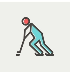 Hockey players pushing the puck thin line icon vector