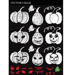 Hand drawn halloween chalk pumpkins set vector