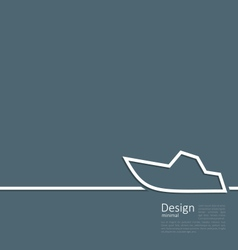 Logo of yacht in minimal flat style line vector