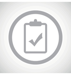 Grey clipboard yes sign icon vector