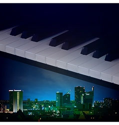 Abstract night blue background with city and piano vector