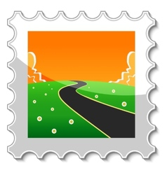 Road into the unknown stamp vector