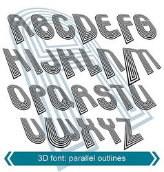 Dimensional font with rotation effect perspective vector