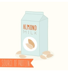 Almond milk in a carton pack vector