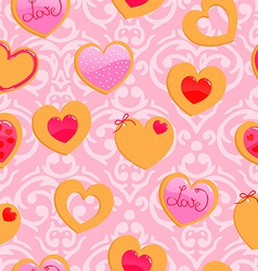 Cute pink seamless valentines day pattern with vector