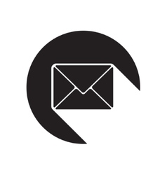 Black icon with mailing envelope and stylized vector