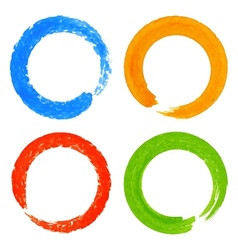Set of watercolor colorful grunge circle stains vector