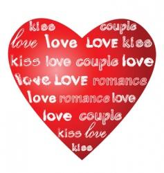 Love words on a heart vector
