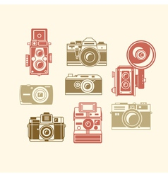 Classic photo camera icons vector